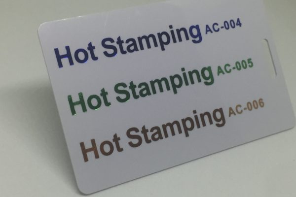 blue green and orange hotstamping  Plastic Card Quotation blue green and orange hotstamping 600x400