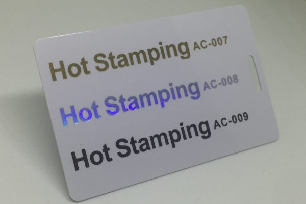 gold holographic, sliver holographic and black hotstamping  Plastic Card Quotation gold silver and black hotstamping 600x400