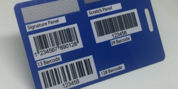 signature panel, scratch panel, 13 barcode, 39 barcode and 128 barcode
