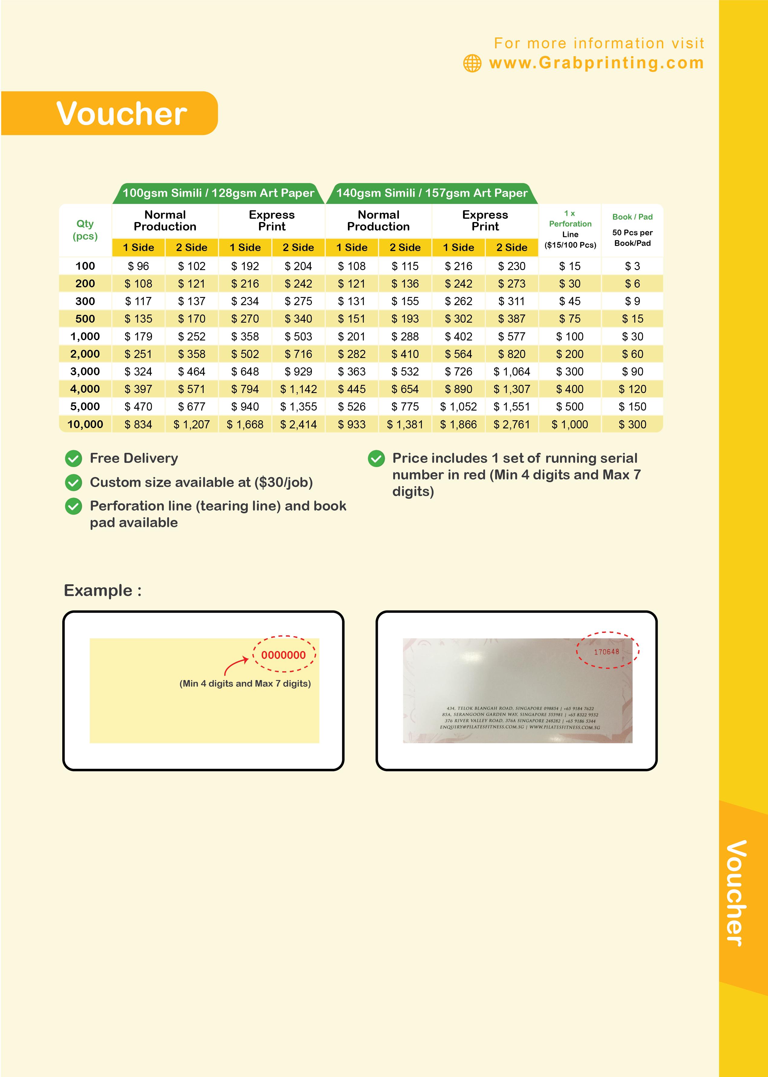 Voucher Printing Voucher Printing Price List