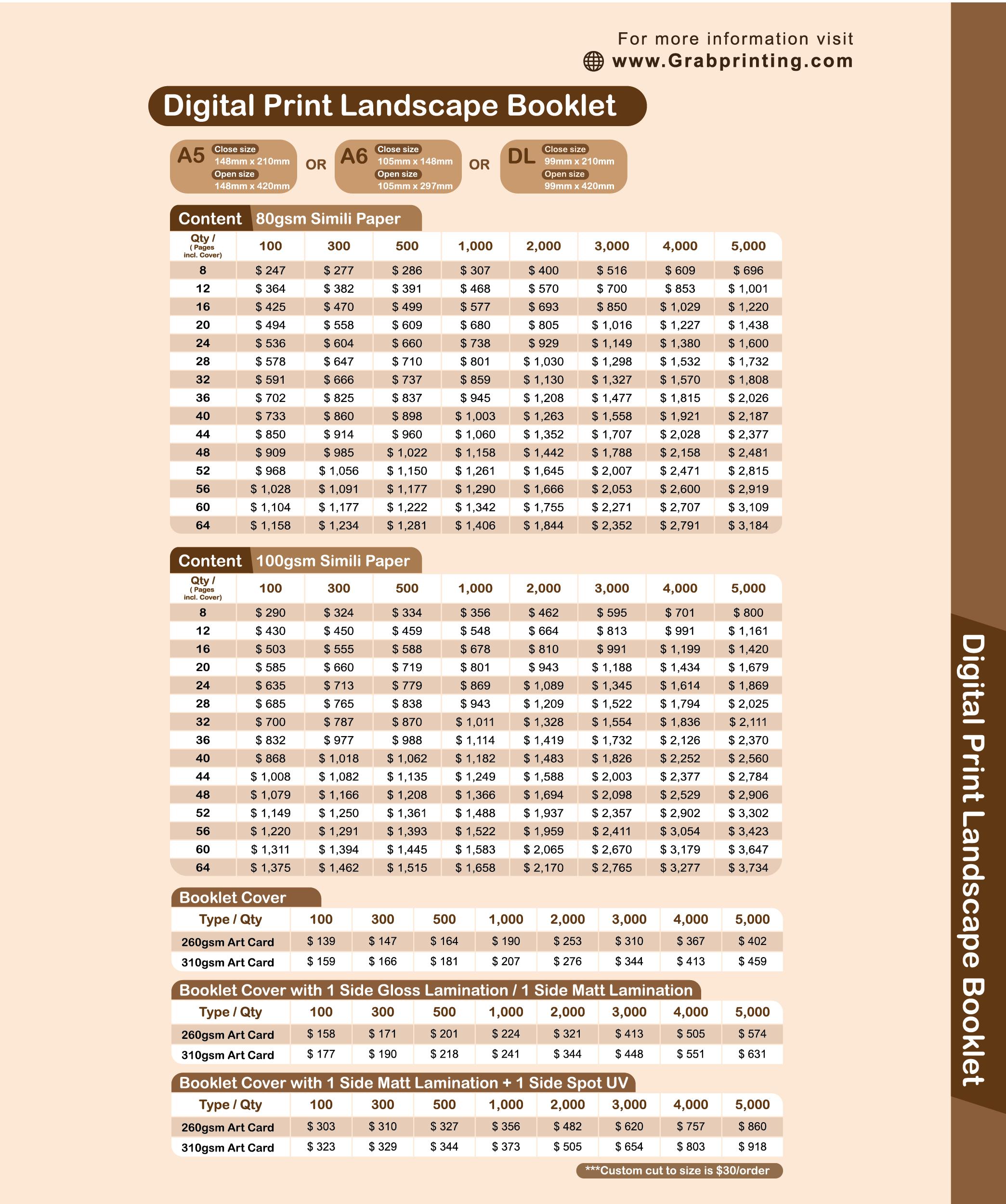 landscape booklet Booklet (Landscape) Grabprinting Landscape booklet printing price list 1