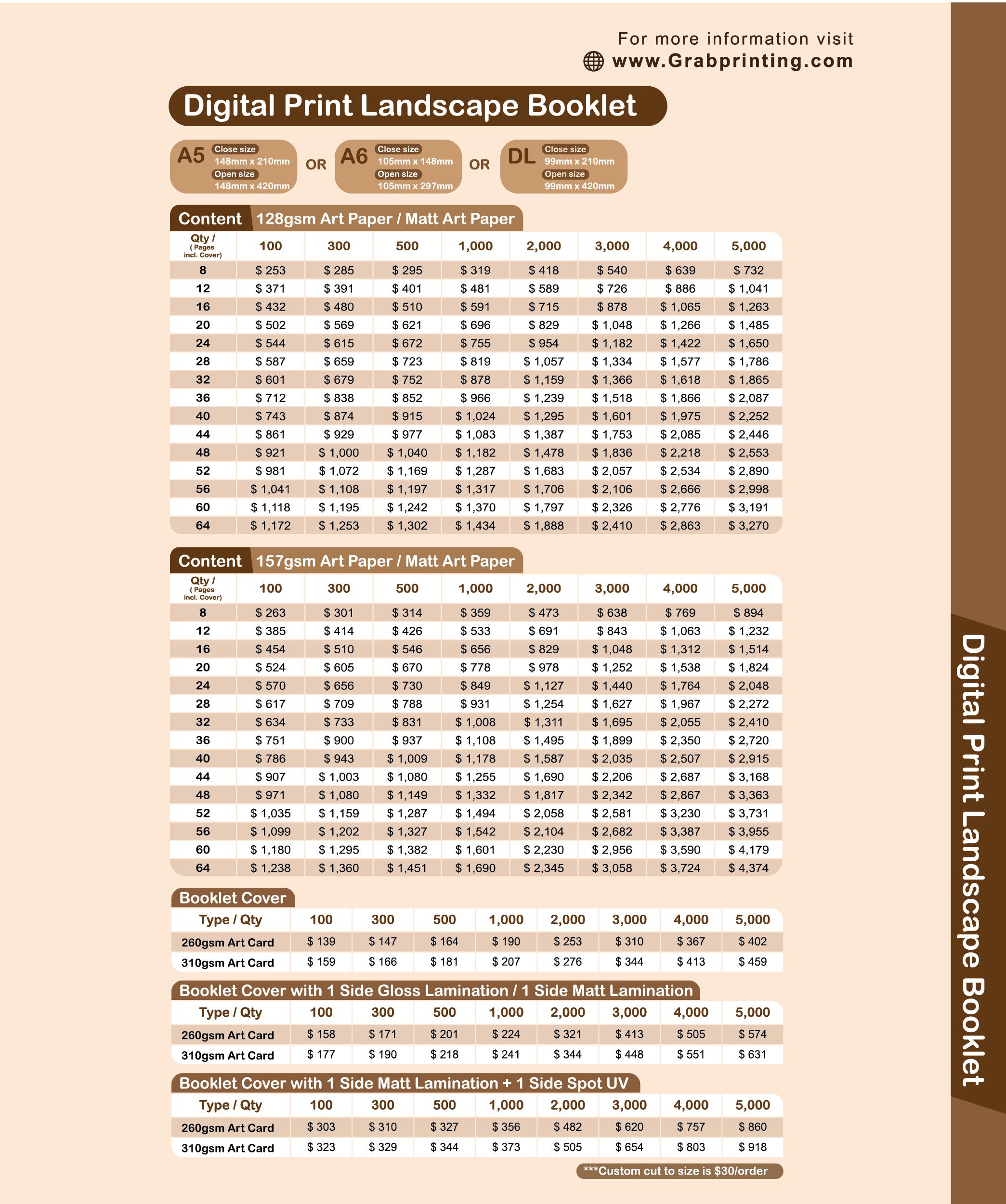 landscape booklet Booklet (Landscape) Landscape booklet printing price list 2
