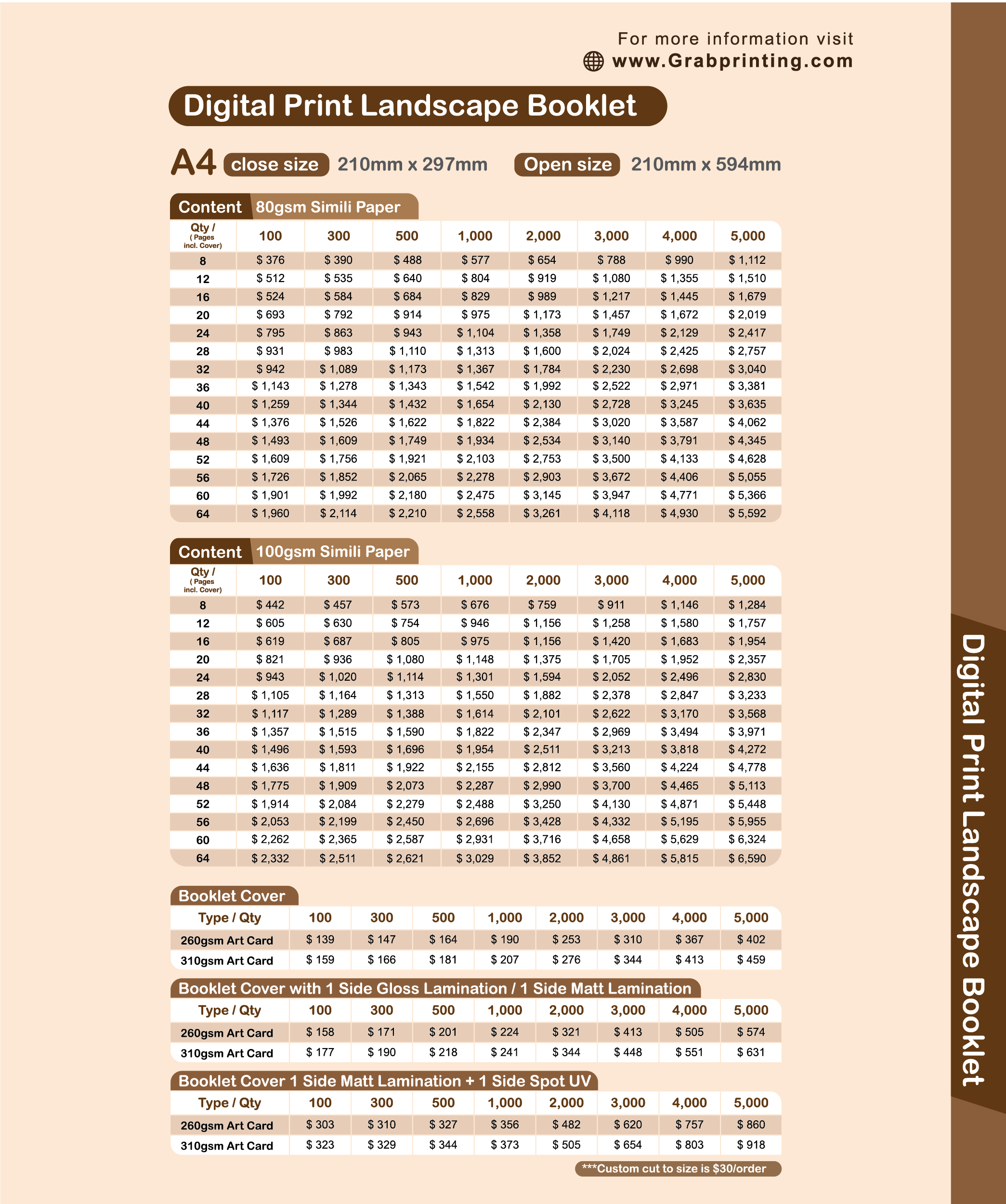 landscape booklet Booklet (Landscape) Landscape booklet printing price list 3