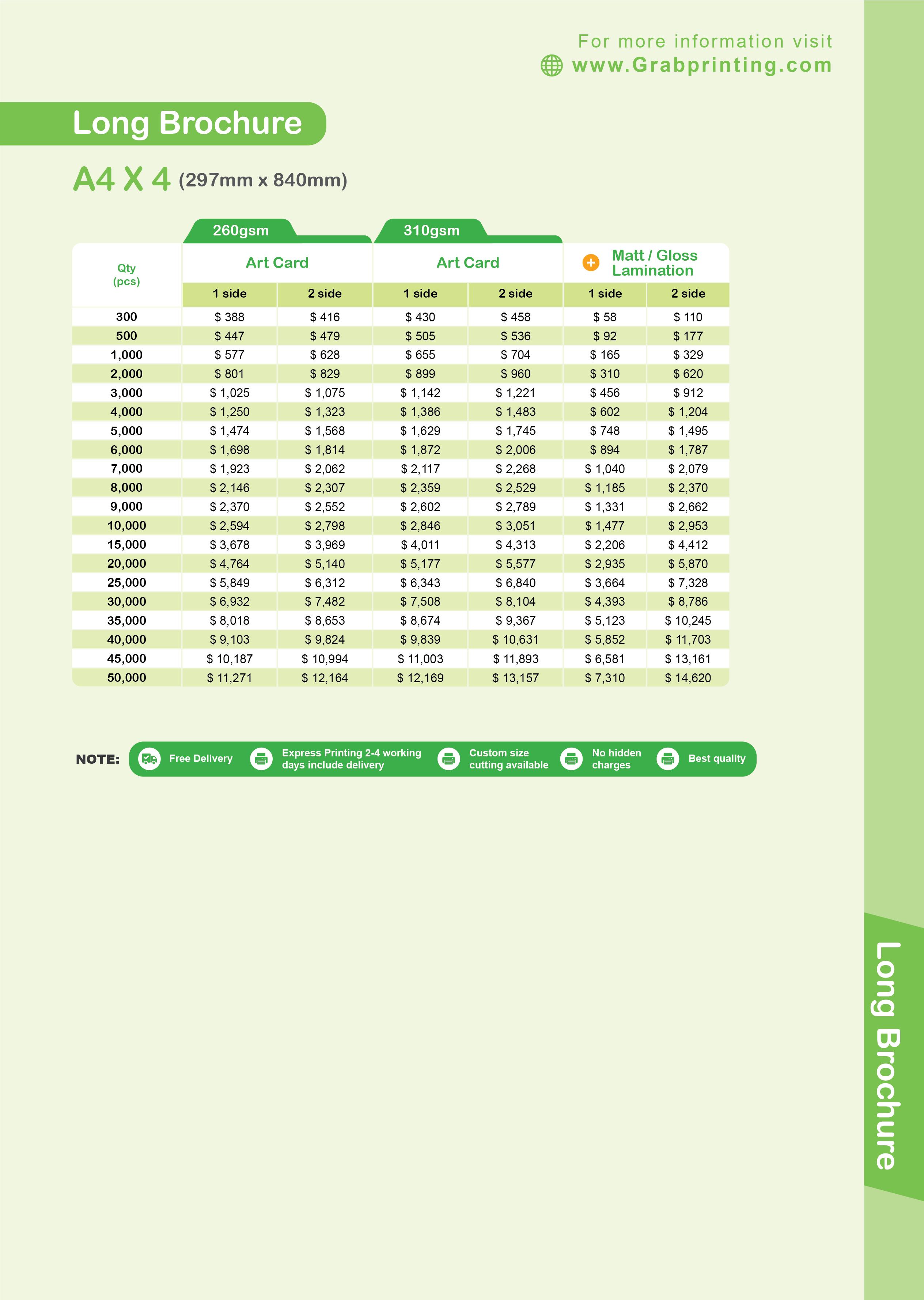 brochure printing Brochure Printing Long Brochure A4 x 4 Card Price List