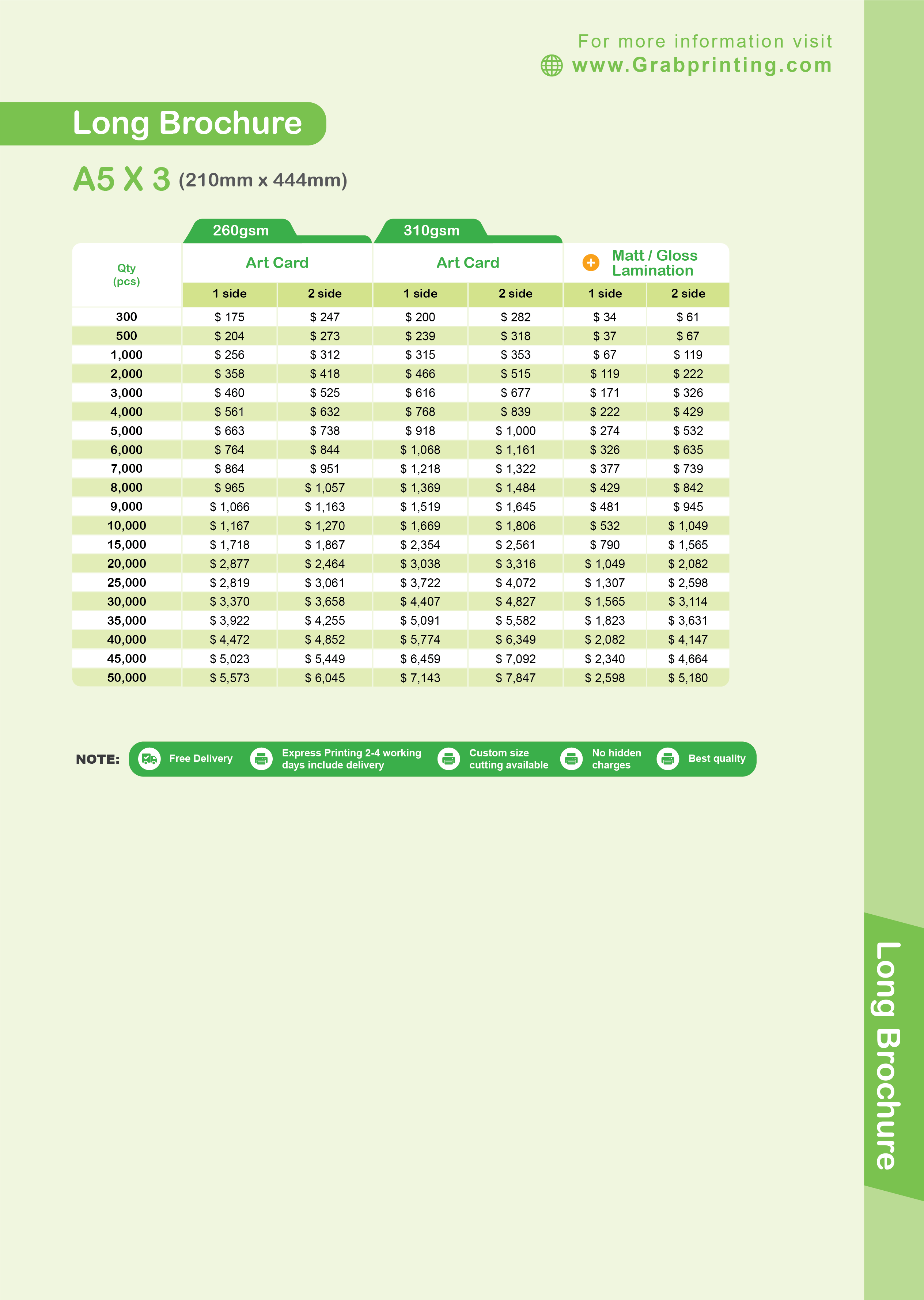 brochure printing Brochure Printing Long Brochure A5 x 3 Card Price List