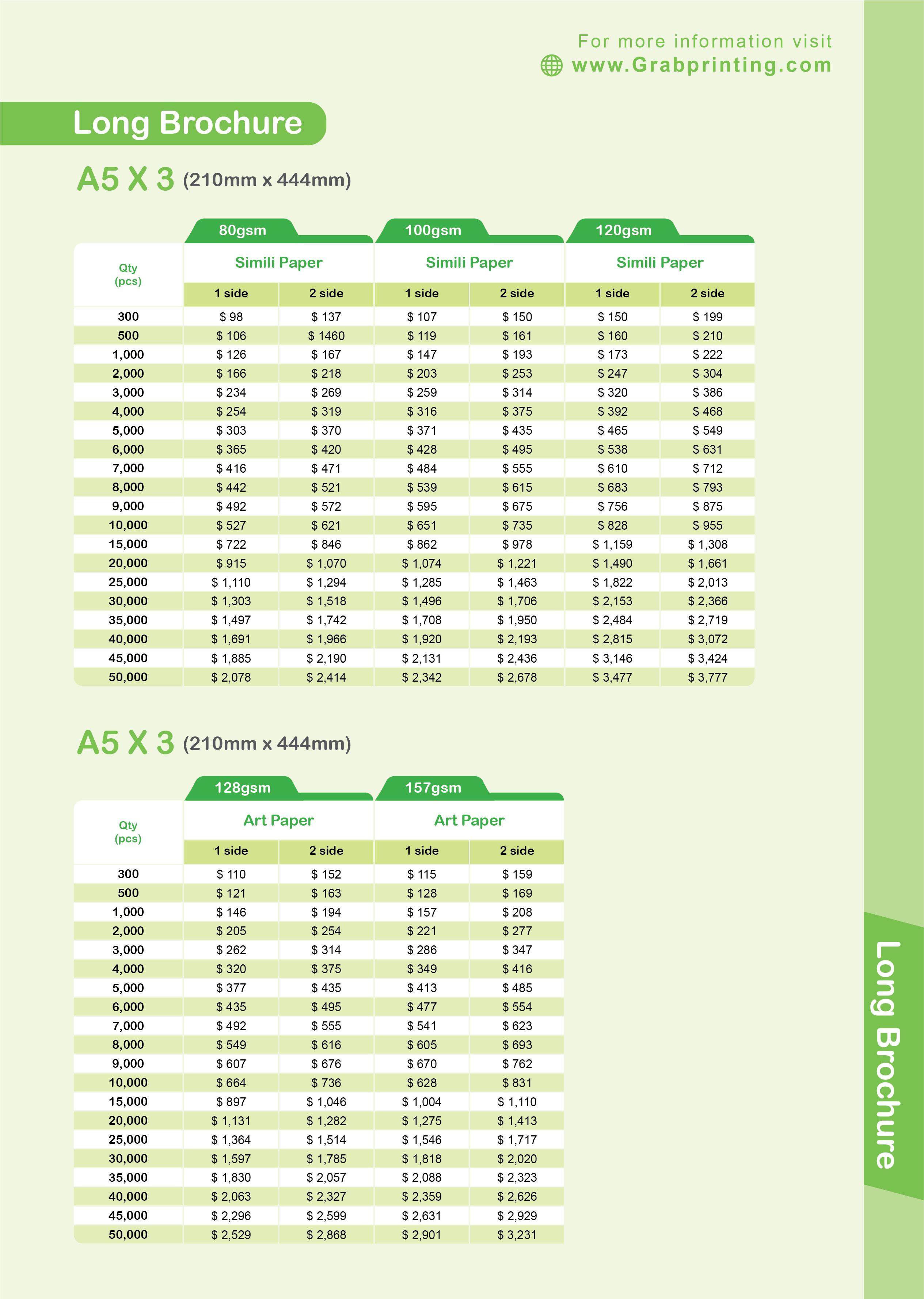 brochure printing Brochure Printing Long Brochure A5 x 3 Paper Price List