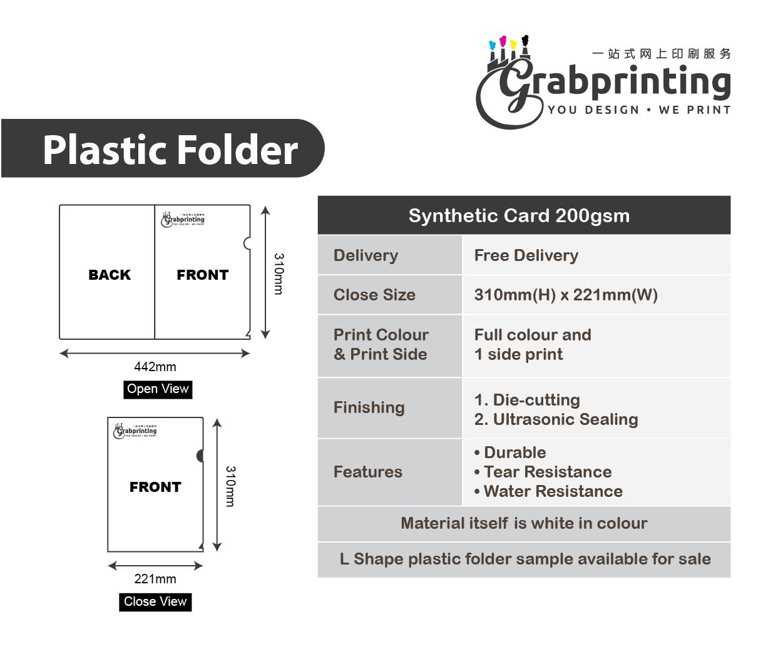 l shape folder L shape plastic folder grabprinting folder synthetic card 200gsm 600px 501px 1