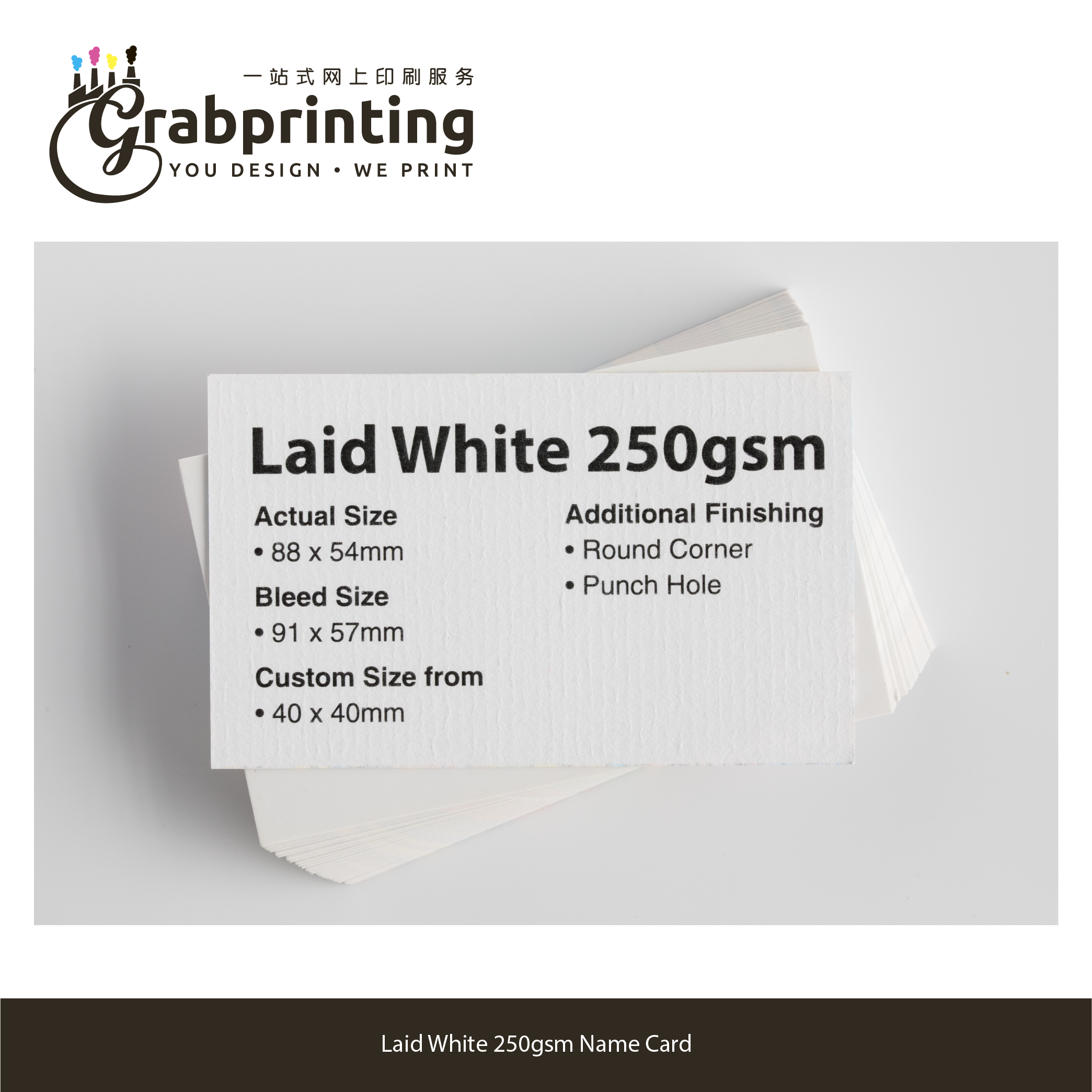 name cards Name Card (23 materials to choose from) grabprinting 33 Laid White 250gsm Name Card 501px 501px