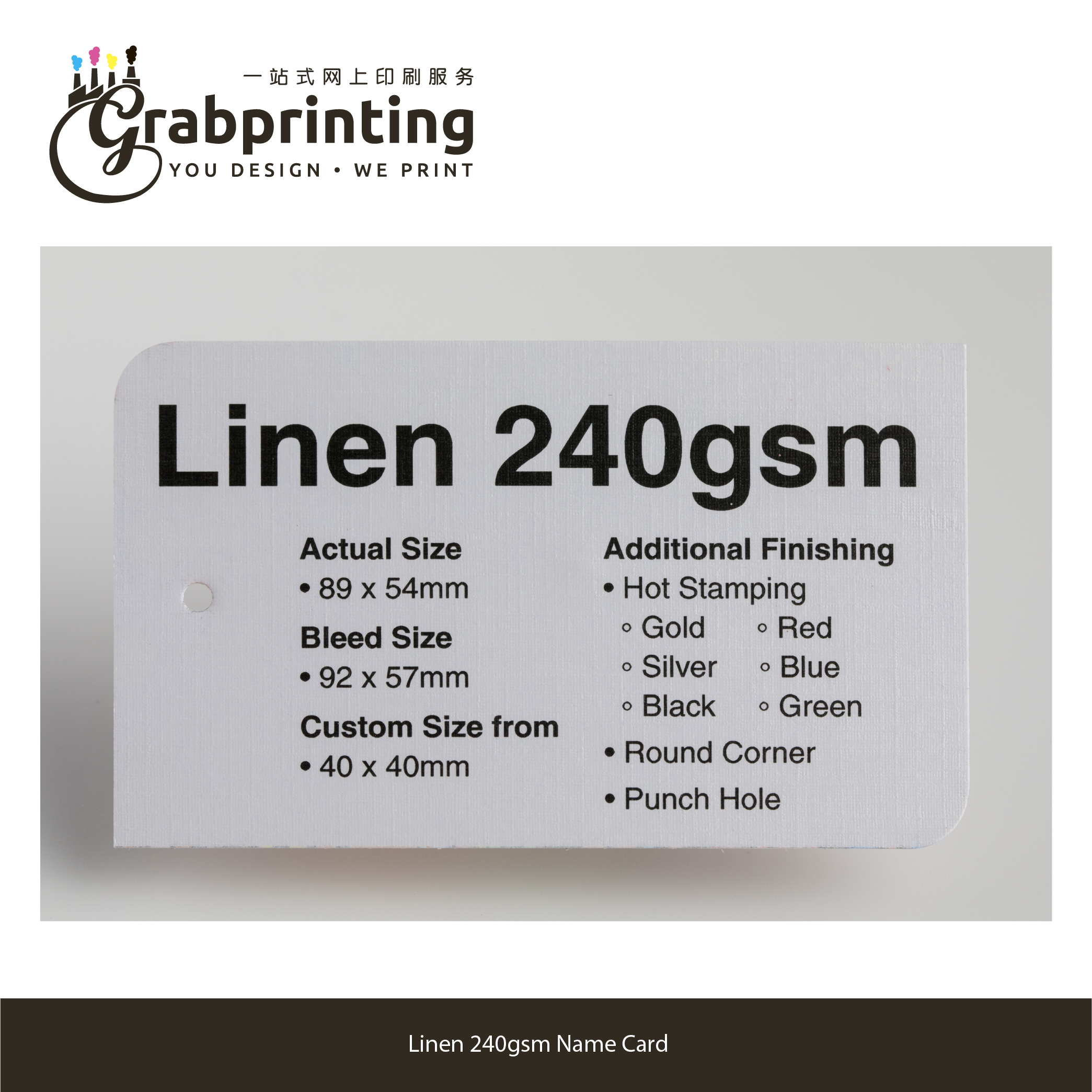 name cards Name Card (23 materials to choose from) grabprinting 47 Linen 240gsm Name Card 501px 501px