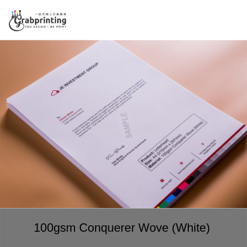 Letterhead Printing 100gsm Conquerer Wove White